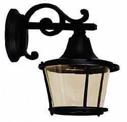 LIDO Outdoor Plastic Wall Sconce, Black, Honey-corored Glass PN131