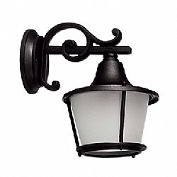 LIDO Outdoor Plastic Wall Sconce, Black, Sandblasted Glass PN131