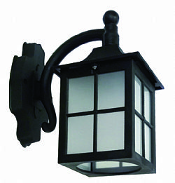 LIDO Outdoor Plastic Wall Sconce, Black, Sandblasted Glass PN145K-2